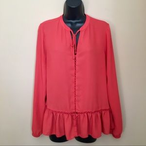 a.n.a Coral Long Sleeve Peasant Blouse